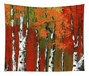 Birch Trees In An Autumn Forest Tapestry