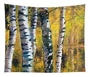 Birch Trees In Golden Fall Tapestry