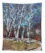 Birch Trees Next Door Tapestry