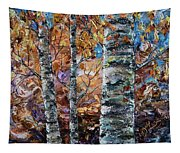 Birch Trees Oil Painting With Palette Knife  Tapestry