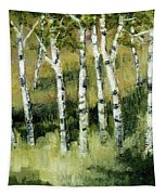 Birches On A Hill Tapestry