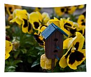 Bird House And Pansey Tapestry