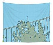 Bird On Fence Aqua II Tapestry