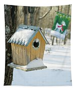 Birdhouse And Deer Flag Tapestry