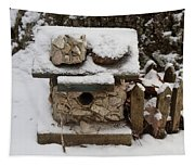 Birdhouse In The Snow Tapestry