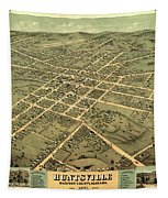 Bird's Eye View Of The City Of Huntsville, Madison County, Alabama 1871 Tapestry