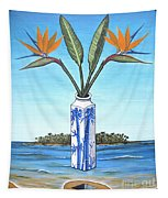 Birds Over Paradise Flowers Tapestry