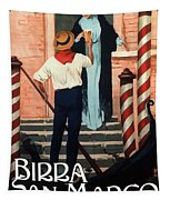 Birra San Marco, Venezia, Italy - Woman With Beer Glass - Retro Travel Poster - Vintage Poster Tapestry