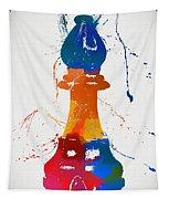 Bishop Chess Piece Paint Splatter Tapestry