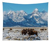 Bison At The Tetons Tapestry