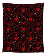Black And Red Hearts Tapestry