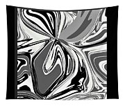 Black And White Abstract Flower Tapestry
