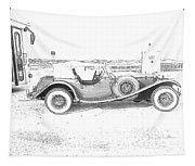 Black And White Car Tapestry