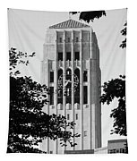Black And White Clock Tower Tapestry