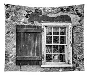 Black And White Cottage Window Tapestry