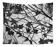 Black And White Leaves Tapestry