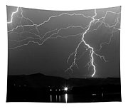 Black And White Massive Lightning Strikes Tapestry