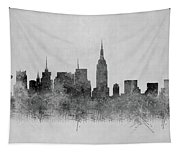 Black And White New York Skylines Splashes And Reflections Tapestry