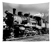 Black And White Of An Old Steam Engine  Tapestry