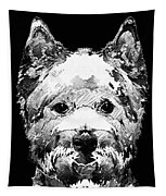 Black And White West Highland Terrier Dog Art Sharon Cummings Tapestry
