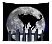 Black Cat And Full Moon 3 Tapestry