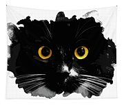 Black Cat, Yellow Eyes Tapestry