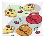 Black Cherry Pie And A Steaming Hot Cup Of Coffee Tapestry