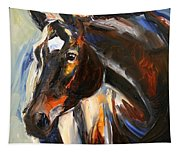 Black Horse Oil Painting Tapestry