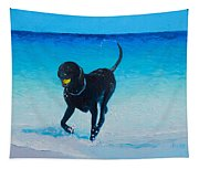 Black Labrador Painting Tapestry