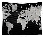 Black Metal Industrial World Map Tapestry