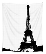 Black On White Eiffel Tapestry