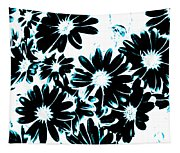 Black Petals With Sprinkles Of Teal Turquoise Tapestry