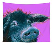 Black Pig Painting On Purple Tapestry