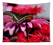 Black Swallowtail Butterfly With Coneflowers And Bee Balm Tapestry