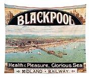 Blackpool, England - Retro Travel Advertising Poster - Seaside Resort - Vintage Poster Tapestry