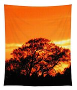Blazing Oak Tree Tapestry