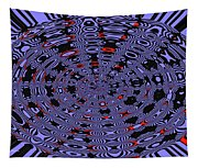 Blue Black Red Abstract Tapestry