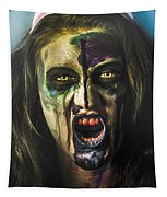 Bloody Zombie Nurse Screaming Out In Insanity Tapestry