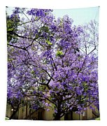 Blooming Tree With Purple Flowers Tapestry