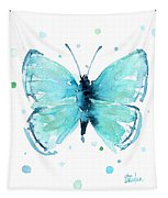 Blue Abstract Butterfly Tapestry