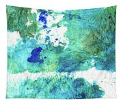 Blue And Green Abstract - Imagine - Sharon Cummings Tapestry