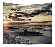Blue And Orange Sunrise On The Beach Tapestry