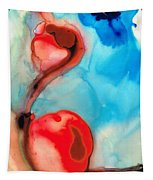 Blue And Red Art - Crimson Dance - Sharon Cummings Tapestry