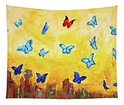 Blue And Red Butterflies Tapestry