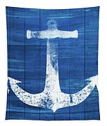 Blue And White Anchor- Art By Linda Woods Tapestry by Linda Woods
