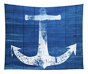 Blue And White Anchor- Art By Linda Woods Tapestry