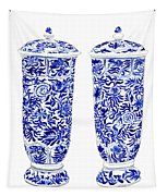 Blue And White Chinoiserie Vases Tapestry