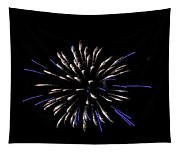 Blue And White Fireworks Tapestry