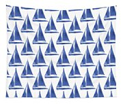 Blue And White Sailboats Pattern- Art By Linda Woods Tapestry
