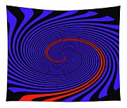 Blue Black And Red Twirl Abstract Tapestry